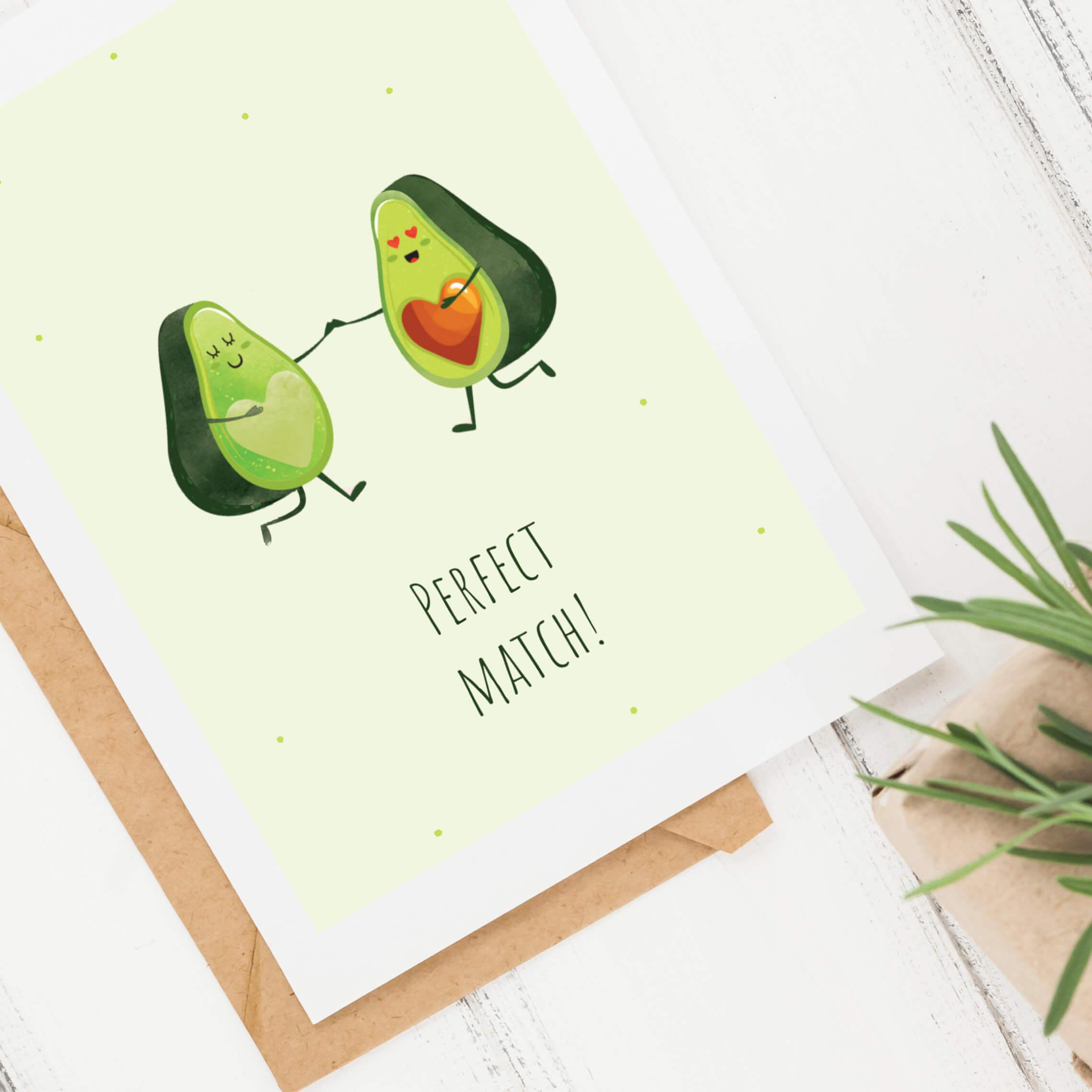 Kartka miłosna Perfect Match Avocado kartka dla zakochanych 1