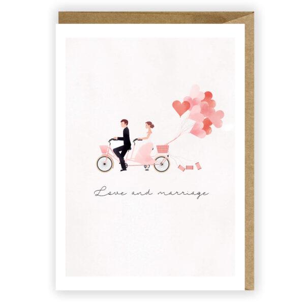 Kartka ślubna Love and marriage nowożeńcy 1