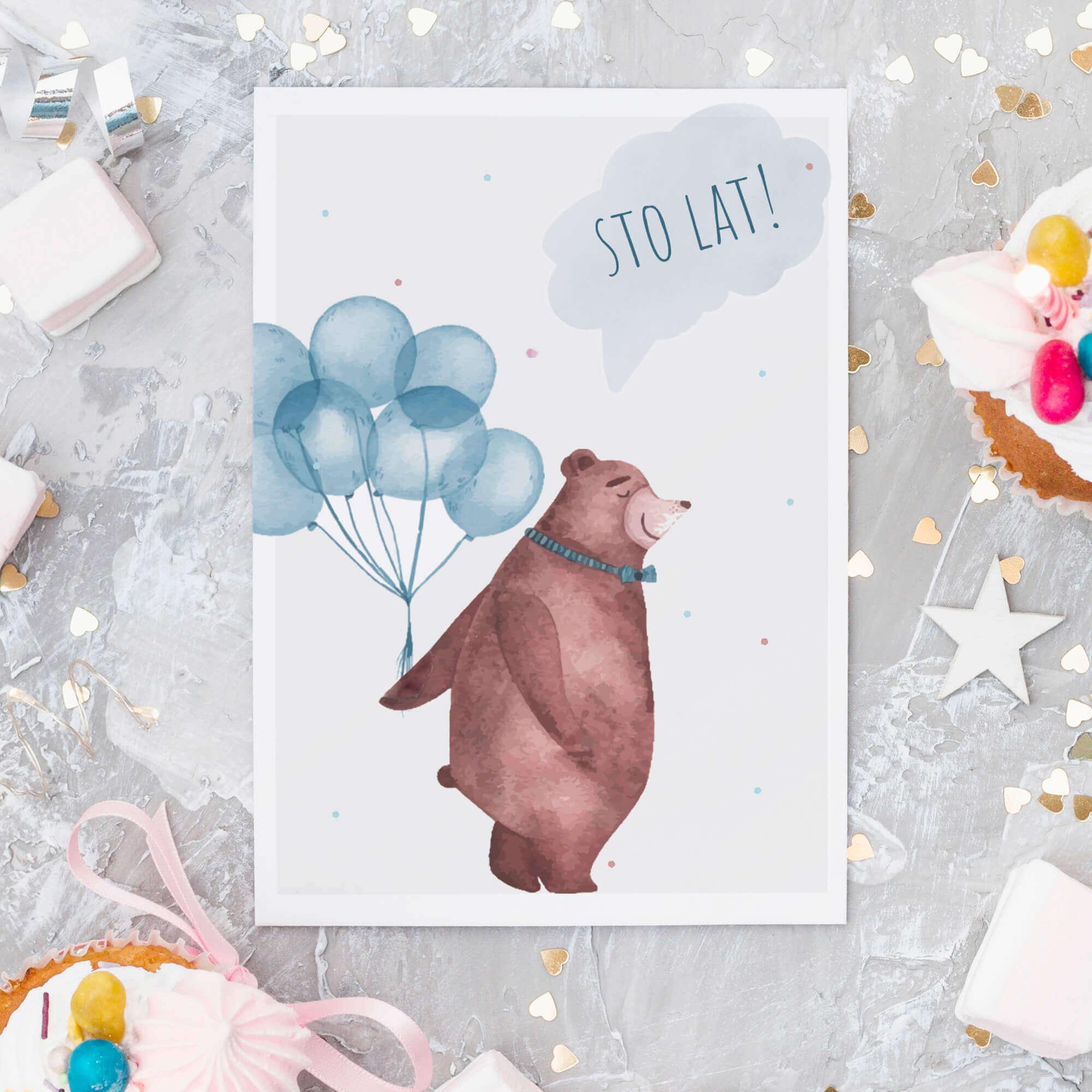 Kartka urodzinowa miś 1