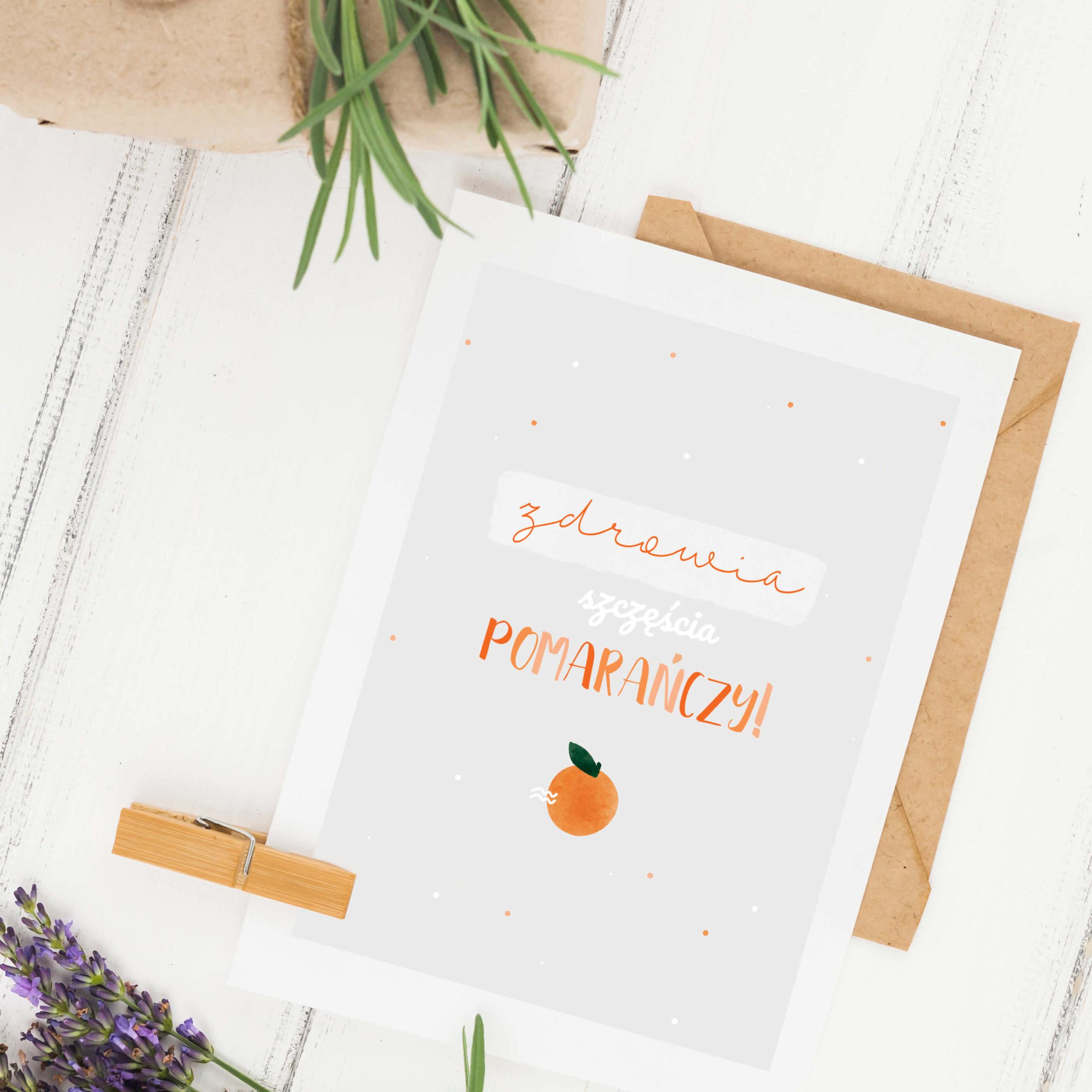 Kartka urodzinowa pomarańcze