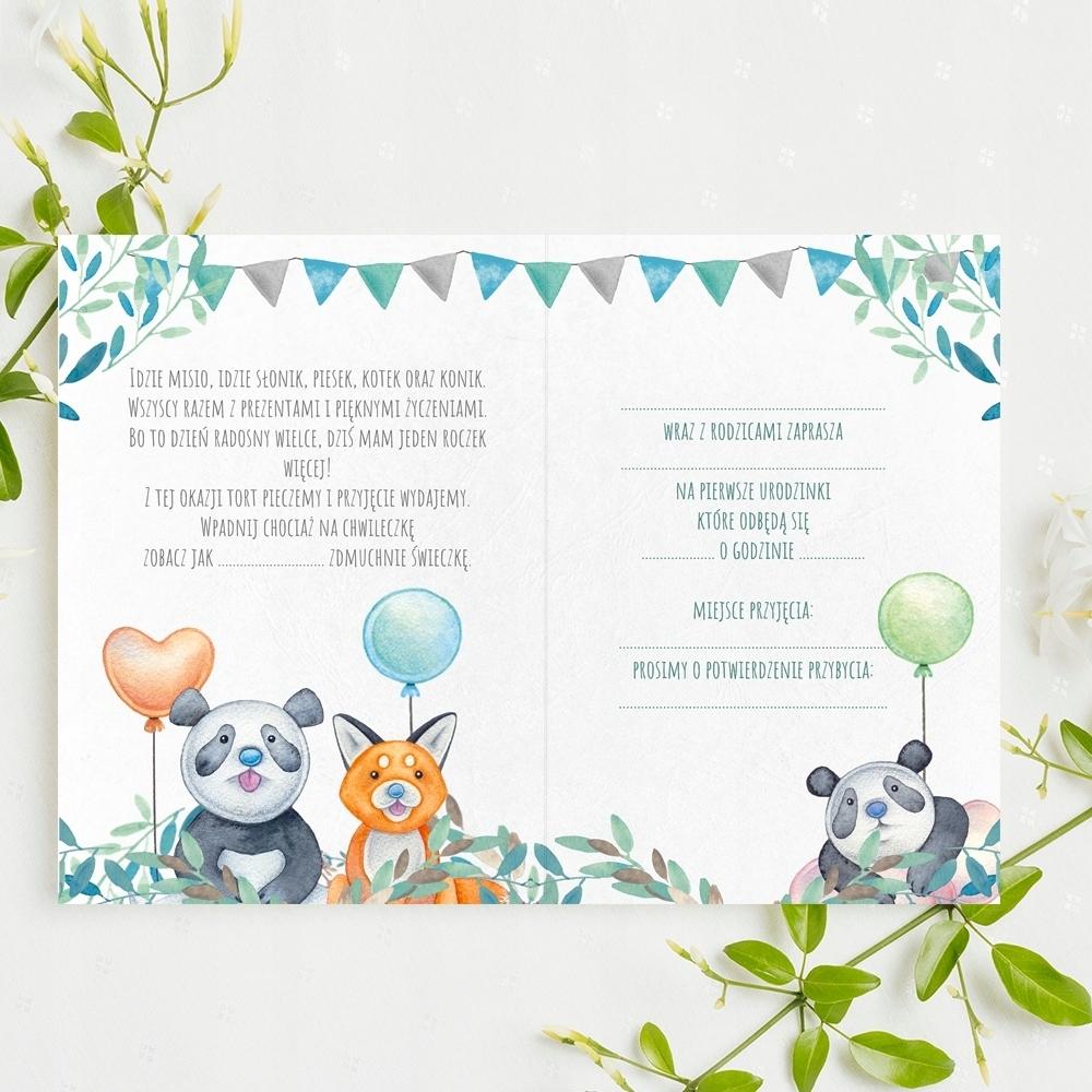 Zaproszenia na urodzinki roczek Panda