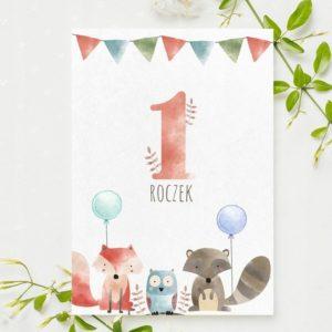 Zaproszenia na urodzinki roczek leśne zwierzątka 1