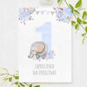 Zaproszenia na urodzinki roczek słonik 1