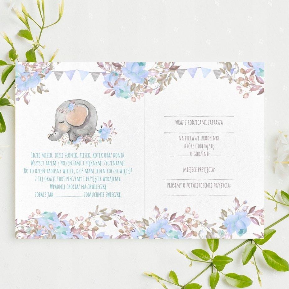 Zaproszenia na urodzinki roczek słonik