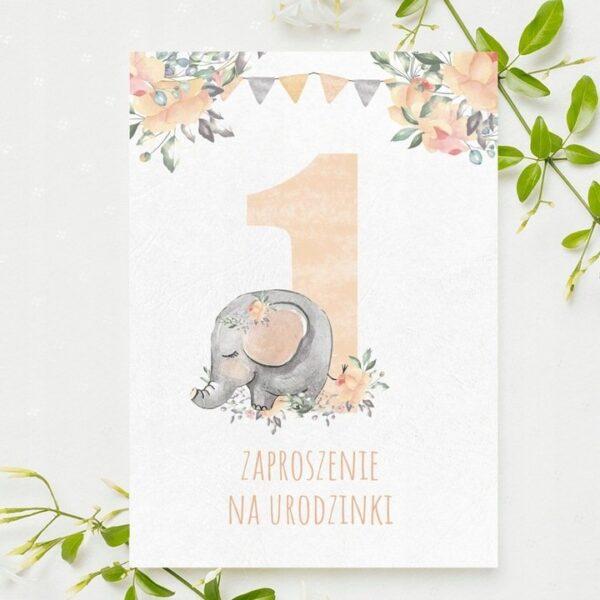 Zaproszenia na urodzinki roczek słonik różowy 1