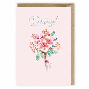 Kartka z podziekowaniem kwiaty