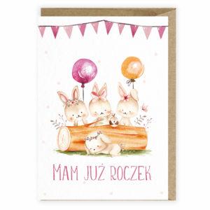 Kartka urodzinowa roczek zajaczki